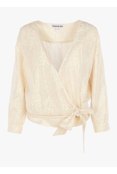 Blouse wrap blouse striped gold