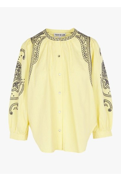 Blouse embroideed stripe yellow/blue