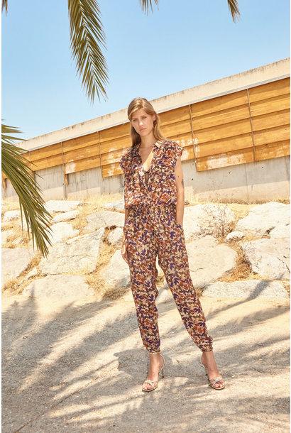 Jumpsuit Floral print ecru/orange