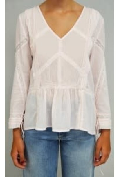 Blouse lace v off white