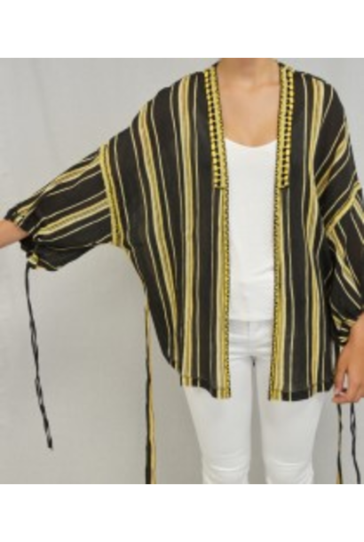 Blouse embroidered strip black/ochre