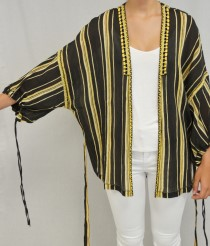 Blouse embroidered strip black/ochre-1