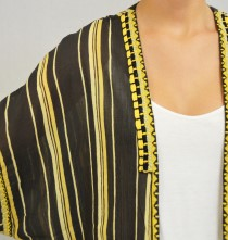 Blouse embroidered strip black/ochre-3