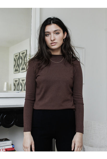 Trui Holly High Neck Knit Brown