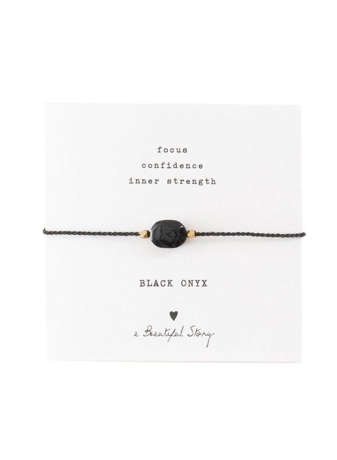 Armband Gemstone Card Onyx Gold Black