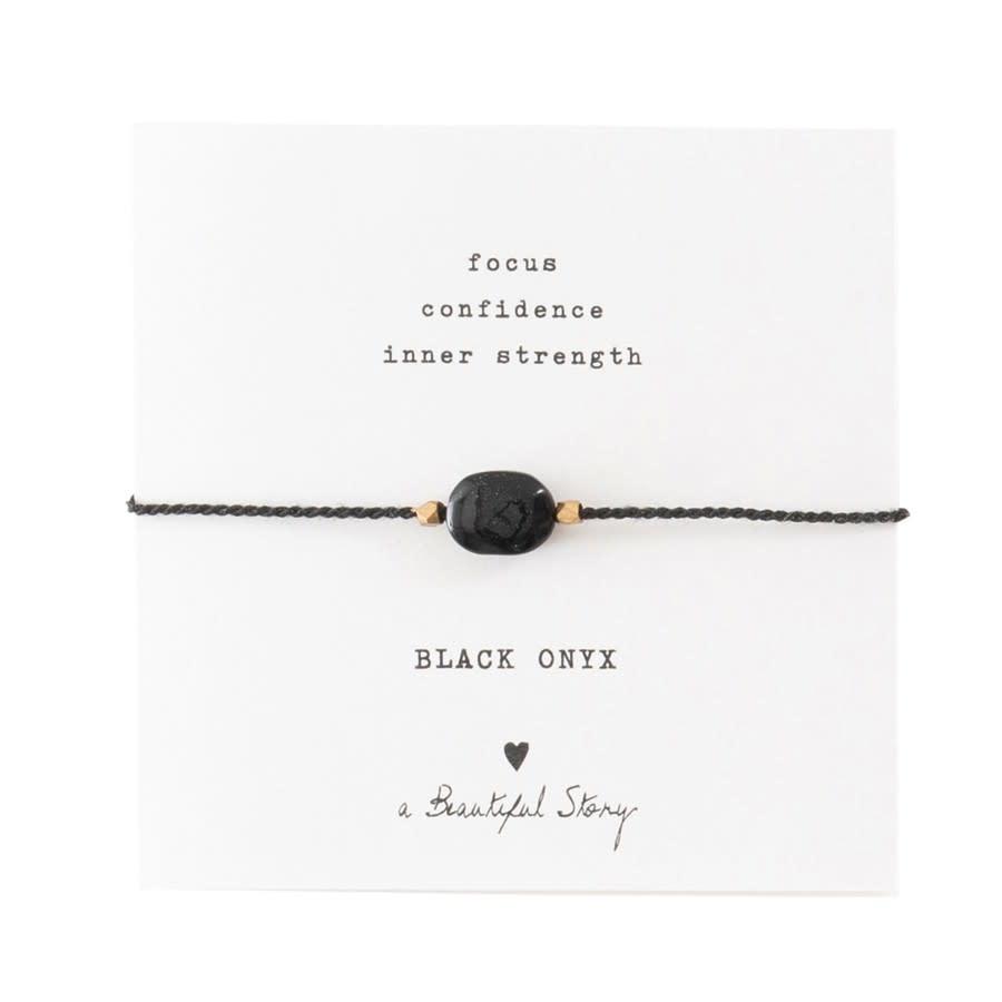 Armband Gemstone Card Onyx Gold Black-1