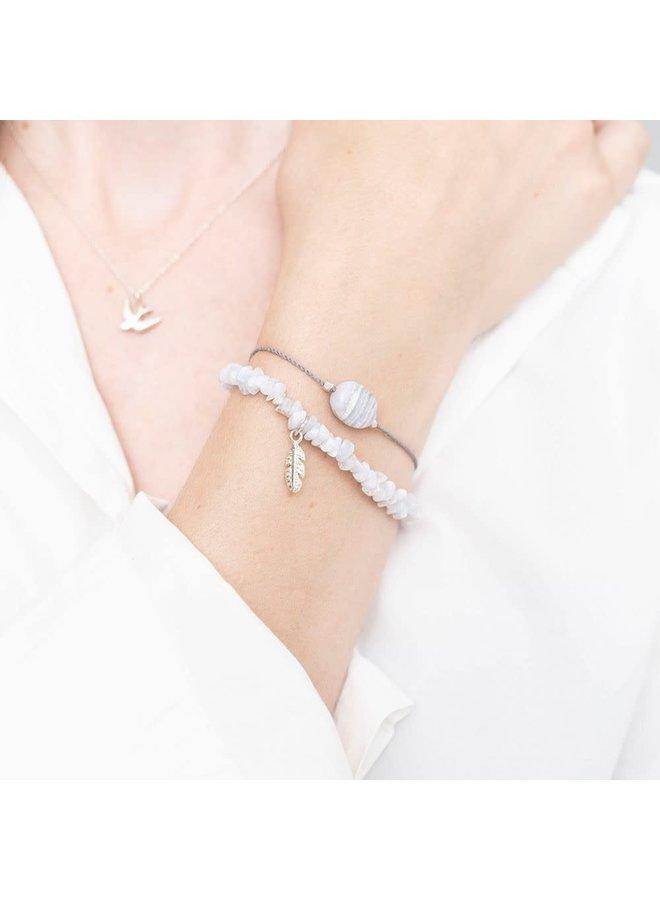 Armband Gemstone Card Blue Lace Agate Silver White