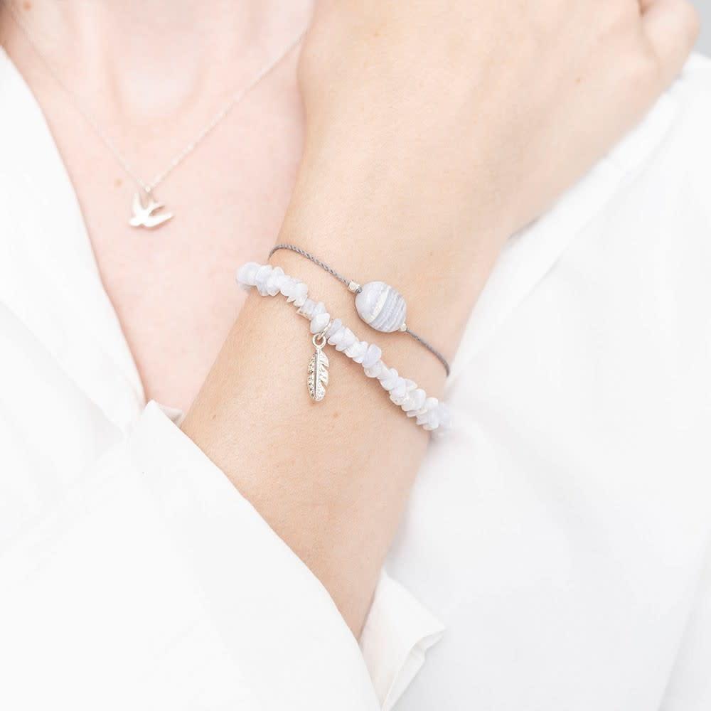 Armband Gemstone Card Blue Lace Agate Silver White-2