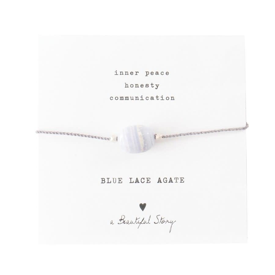 Armband Gemstone Card Blue Lace Agate Silver White-1