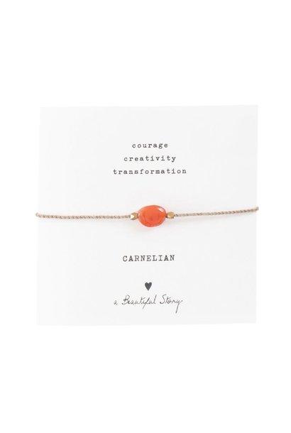 Armband Gemstone Card Carnelian Gold Red