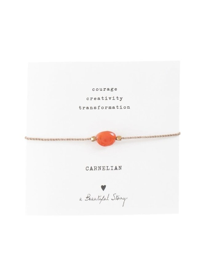 Armband Gemstone Card Carnelian Gold Red