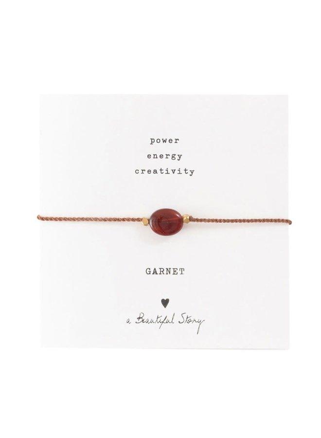 Armband Gemstone Card Garnet Gold Red