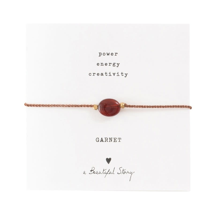 Armband Gemstone Card Garnet Gold Red-1