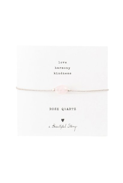 Armband Gemstone Card Quartz Silver Rose
