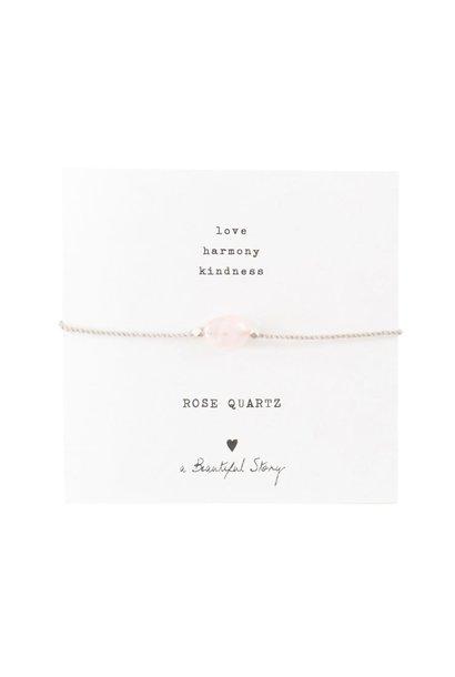 Armband Gemstone Card Rose Quartz Silver