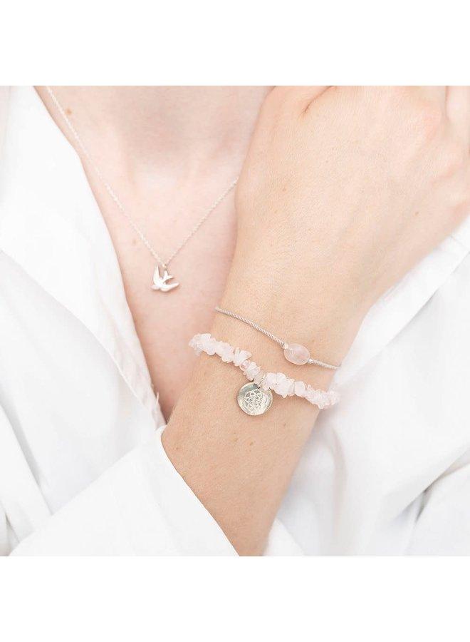 Armband Gemstone Card Quartz Silver Rose