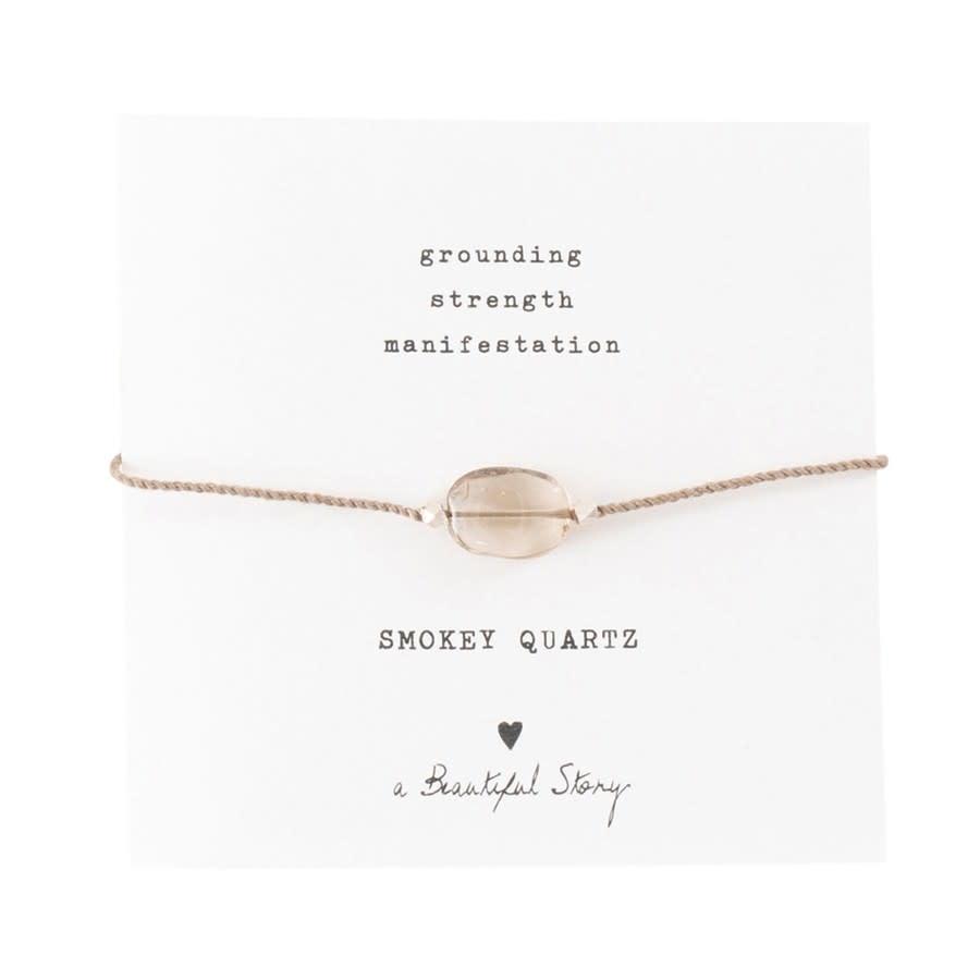 Armband Gemstone Card Quartz Silver Smokey Brown-1