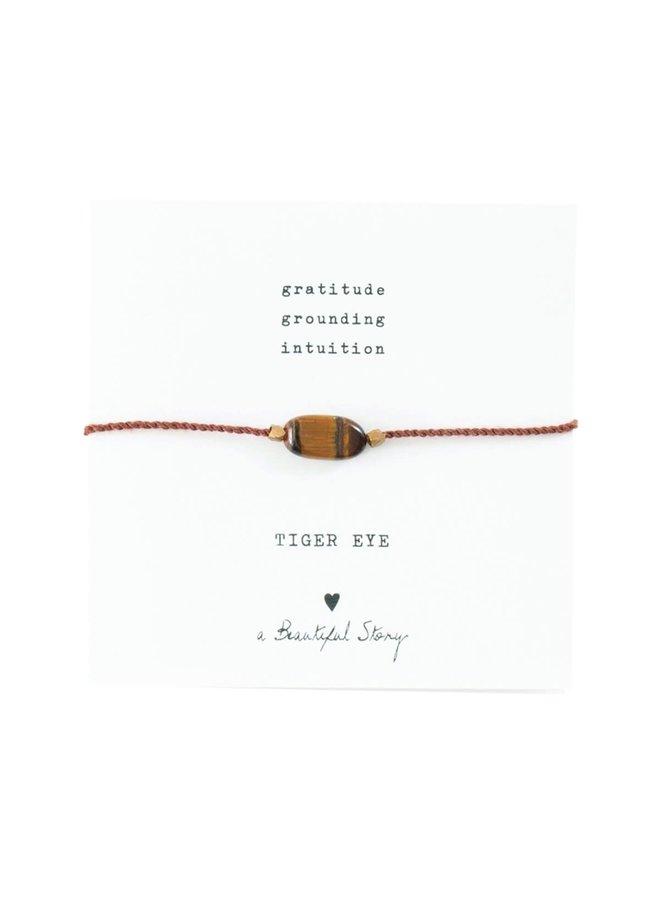 Armband Gemstone Card Tiger Eye Gold Brown