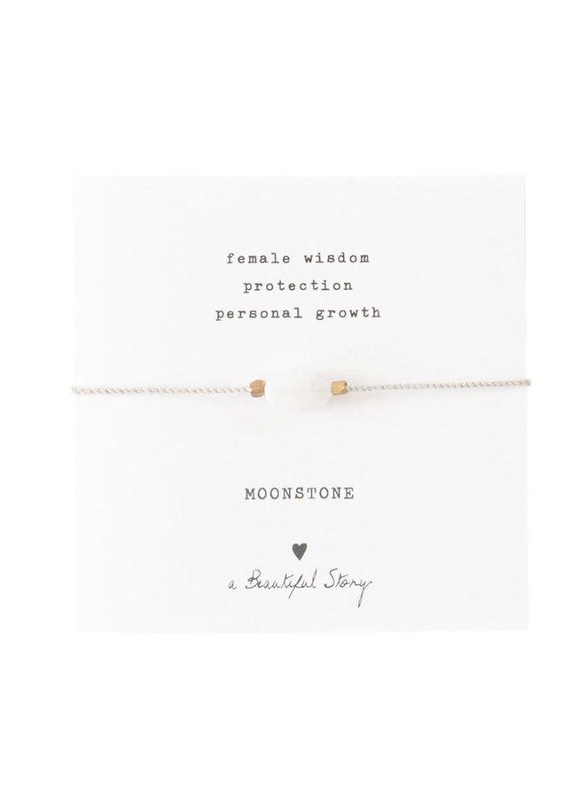 Armband Gemstone Card Moonstone Gold White