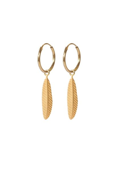 Oorbel Feather Sterling Silver gold plated