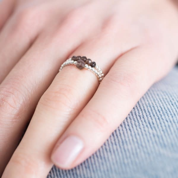 Ring Beauty Smokey Quartz Silver Brown-2