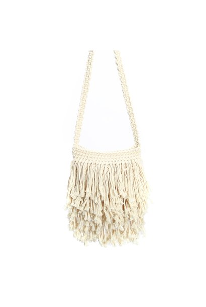 Tas the fringed macrame white