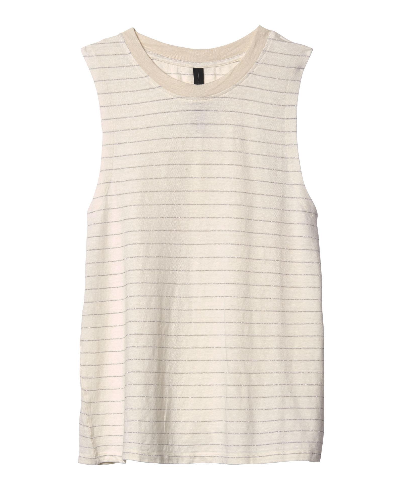 Top sleevelless stripes ecru-1