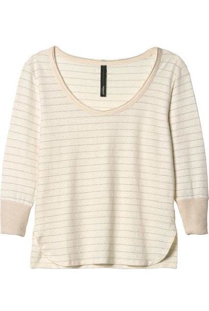 Top sleeve tee 3/4 linen stripes ecru