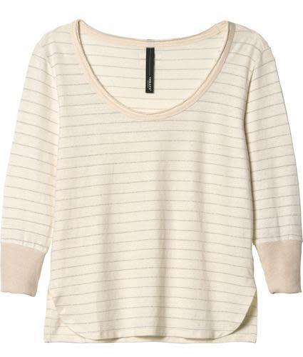 Top sleeve tee 3/4 linen stripes ecru-1