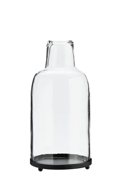 Kaarsenhouder Clear glass black 30cm