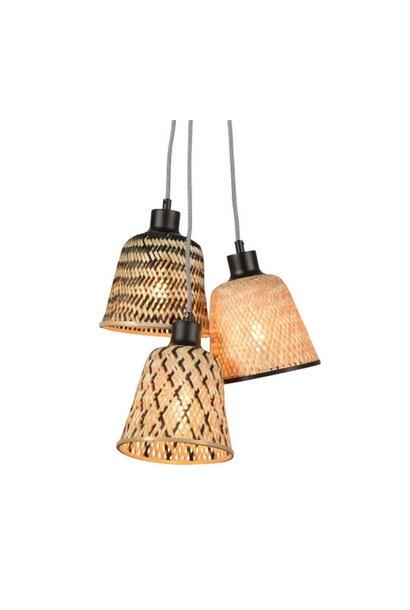 Hanglamp Kalimantan bamboo 3 kap (incl pendel)