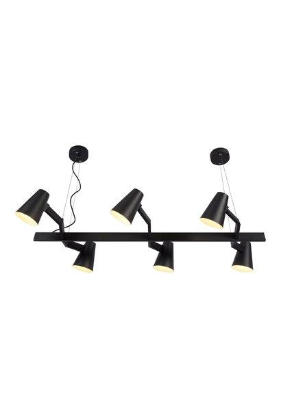 Hanglamp ijzer Biarritz 6-arm zwart
