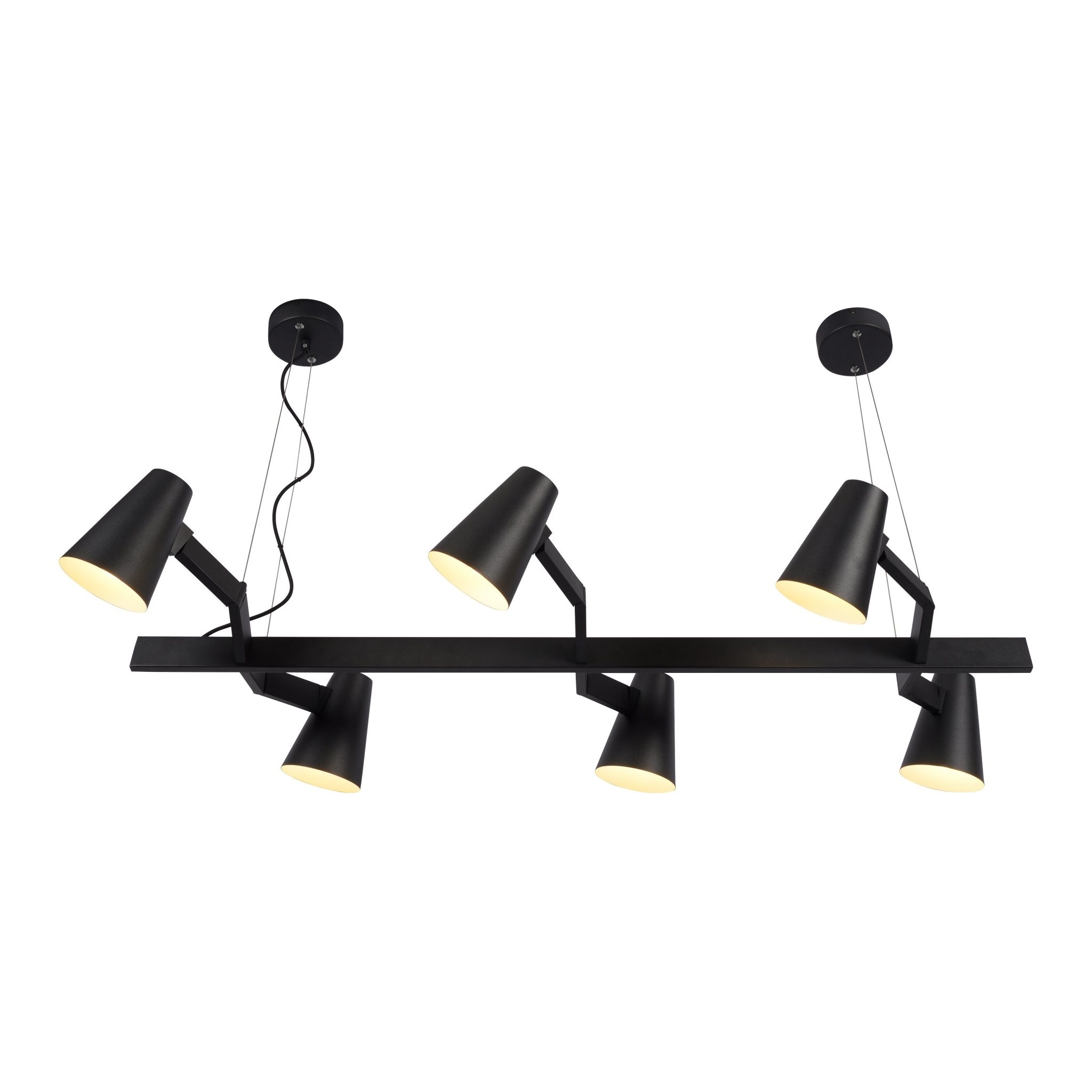 Hanglamp ijzer Biarritz 6-arm zwart-1