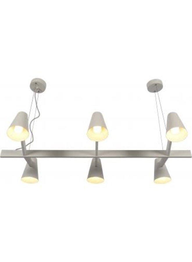 Hanglamp ijzer Biarritz 6-arm wit