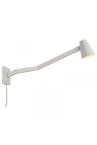 Wandlamp Biarritz wit ijzer long arm L