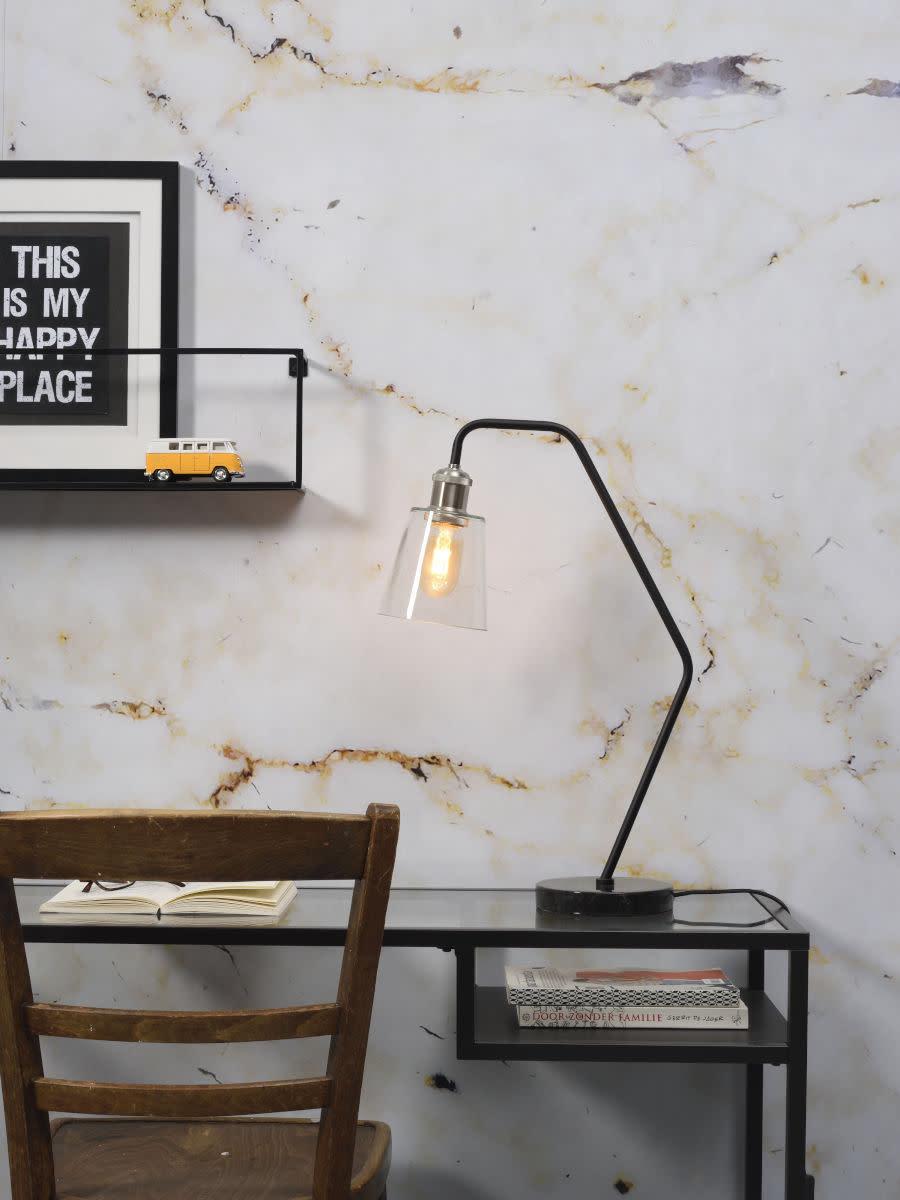 Tafellamp Parijs glas marmer zwart-2