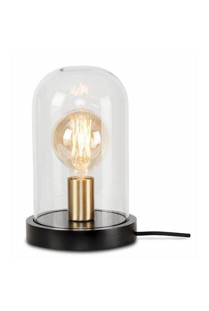 Tafellamp Seattle glas hout zwart