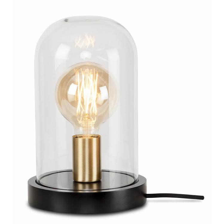 Tafellamp Seattle glas hout zwart-1