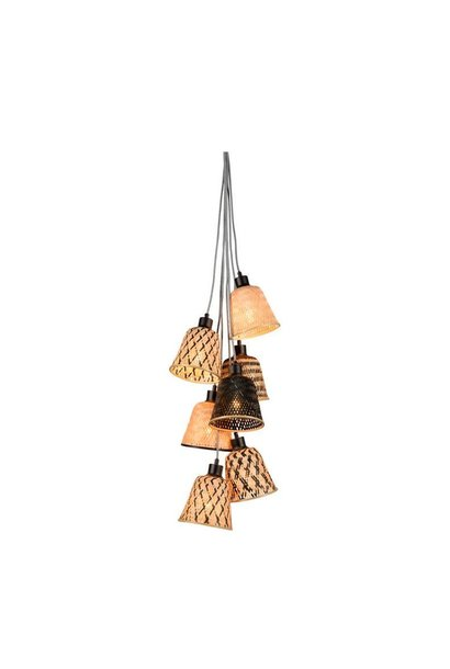 Hanglamp Kalimantan bamboo black naturel 7 kap (incl.pendel)