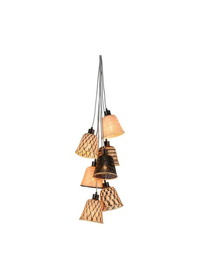 Hanglamp Kalimantan bamboo black/ naturel 7 shades