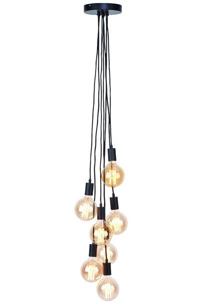 Snoerpendel Oslo 7lampen zwart