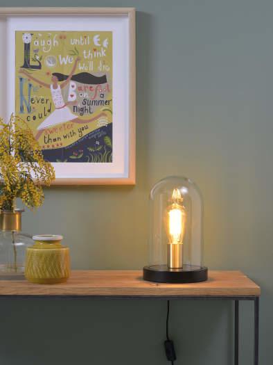 Tafellamp Seattle glas hout zwart-3