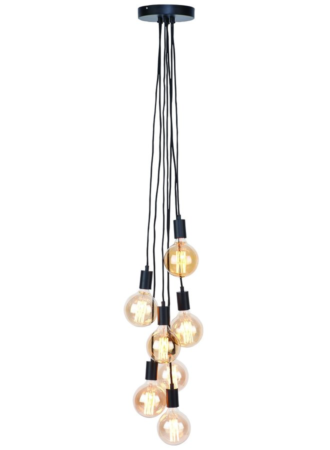 Snoerpendel Oslo 7 lampen textil 150cm