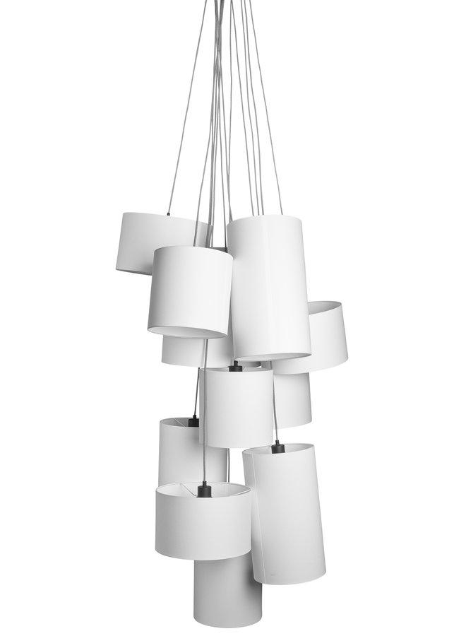 Hanglamp Oslo 12 lampen textil smokey grey