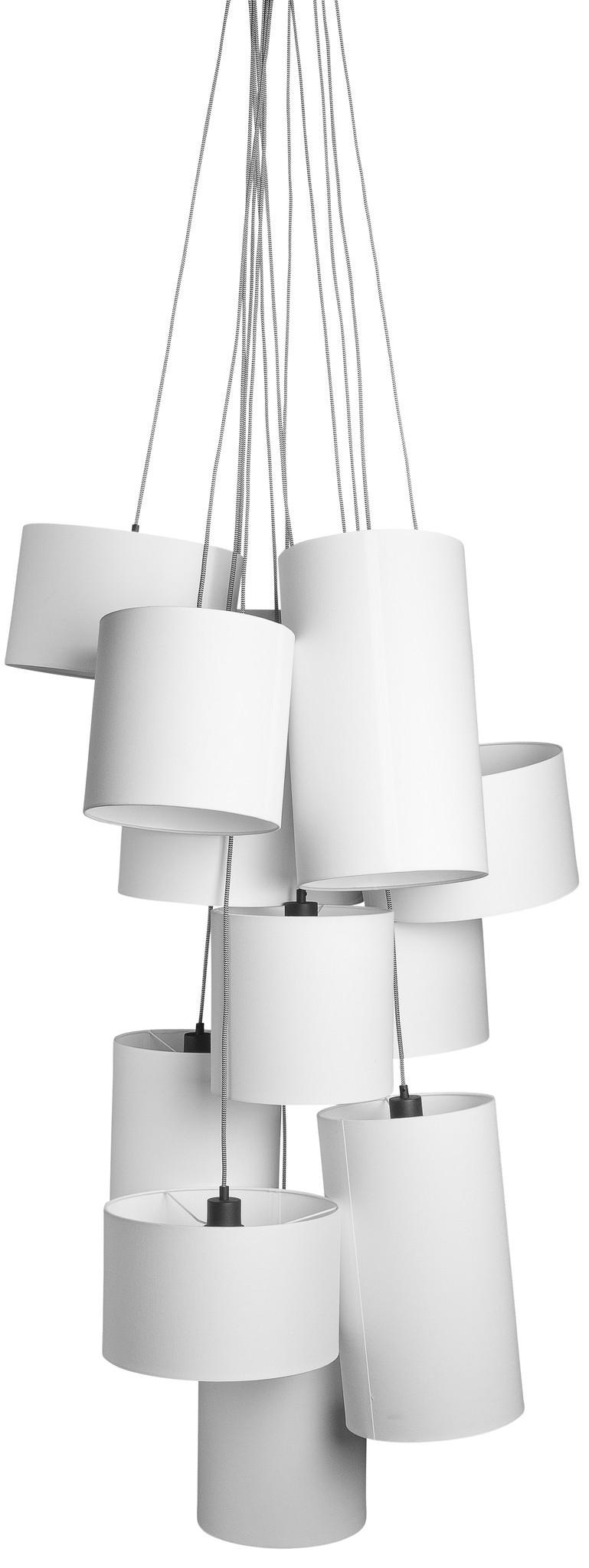 Hanglamp Oslo 12 lampen textil smokey grey-1