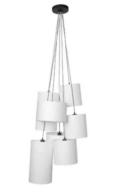 Hanglamp Oslo 7 lampen textil smokey grey