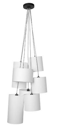 Hanglamp Oslo 7 lampen textil smokey grey-1