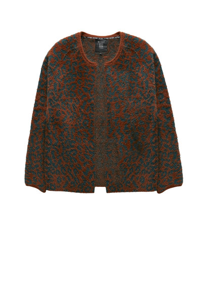 Vest animal jacquard fur knit cardigan