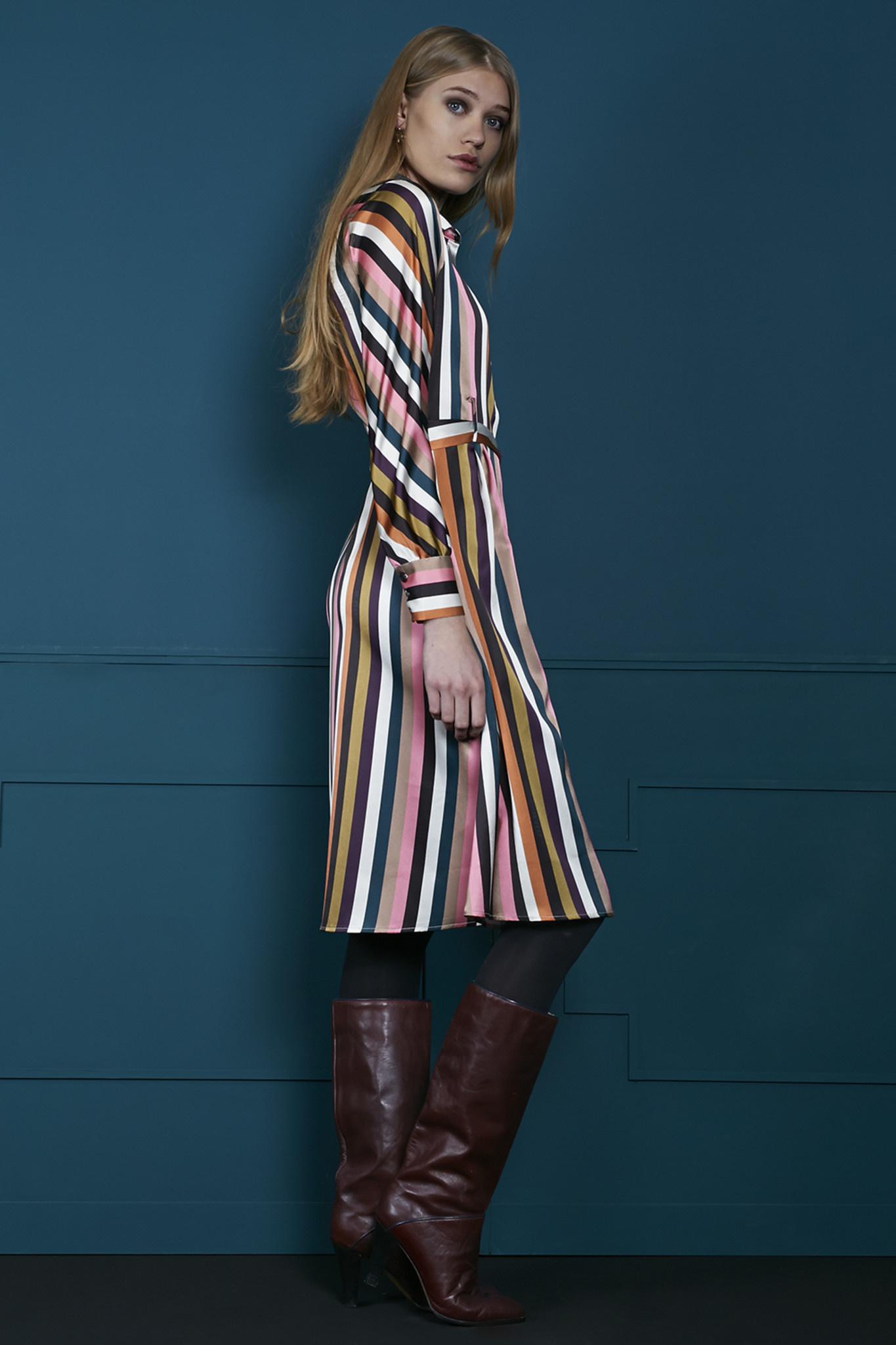 Jurk Over the knee multi colour striped-3
