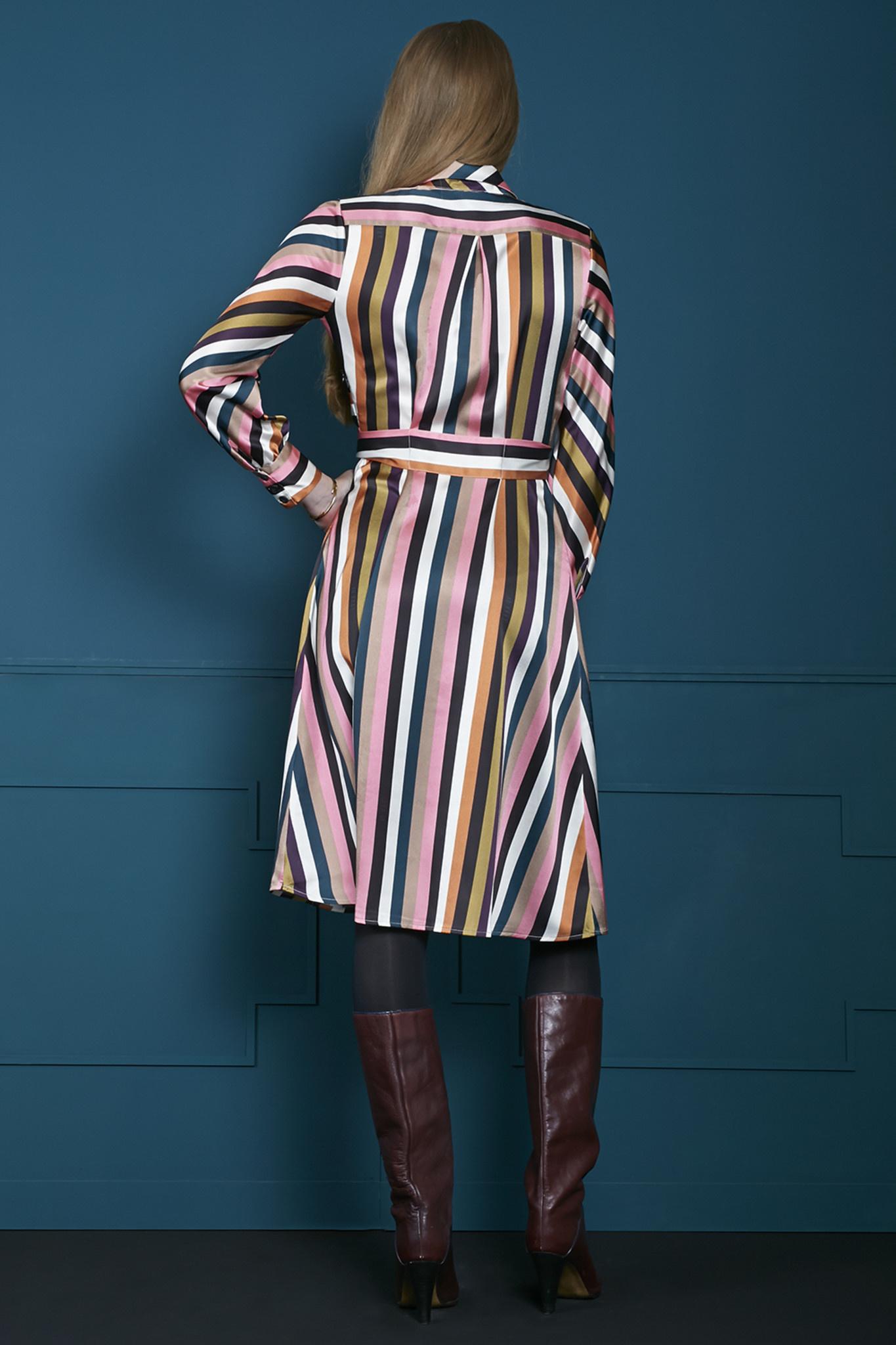 Jurk Over the knee multi colour striped-4